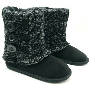 Falls Creek Elisa Winter Boots Black Suede Knit